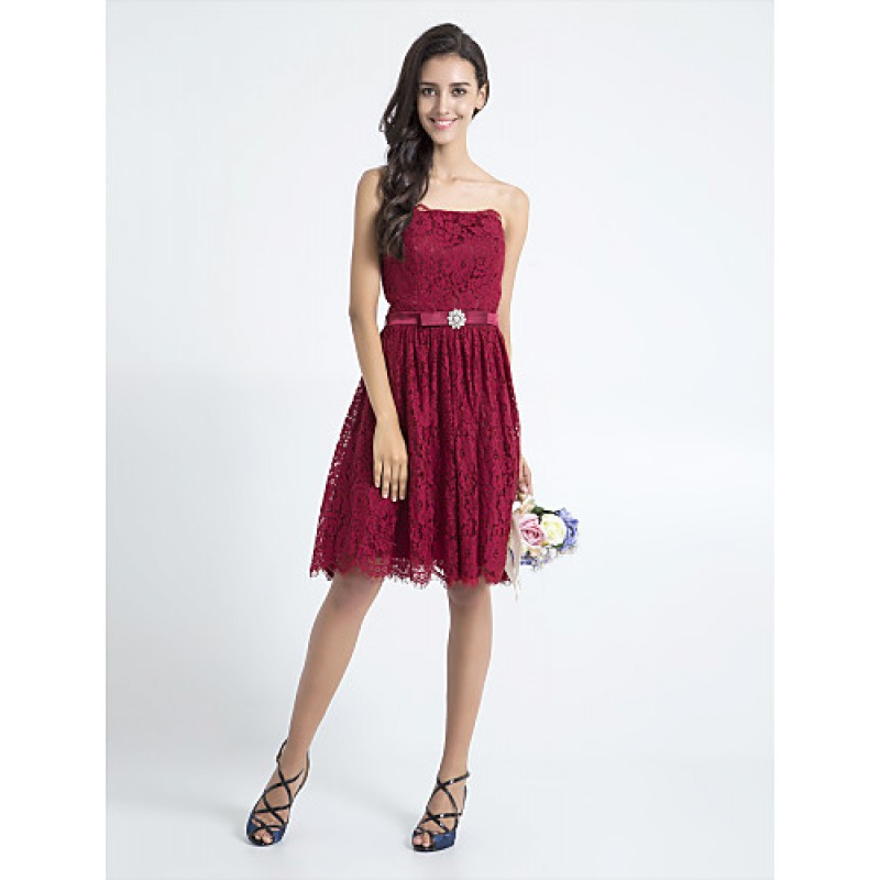 Knee Length Lace Bridesmaid Dress Burgundy Plus Sizes