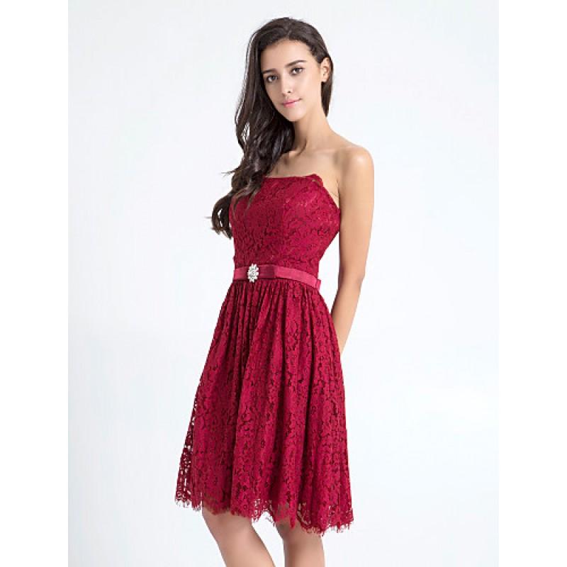 Knee length lace bridesmaid dress burgundy plus sizes for Burgundy wedding dresses plus size