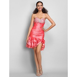 Dress Watermelon Plus Sizes Petite Sheath Column Sweetheart Short Mini Taffeta