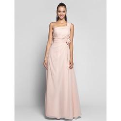 Formal Evening Prom Military Ball Dress Pearl Pink Plus Sizes Petite Sheath Column One Shoulder Floor Length Chiffon