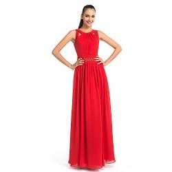 Formal Evening Prom Military Ball Wedding Party Dress Ruby Plus Sizes Petite Sheath Column Jewel Floor Length Chiffon