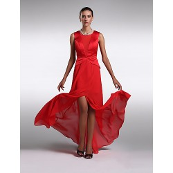 Formal Evening Dress Ruby Plus Sizes Petite Sheath Column Scoop Floor Length Chiffon Satin