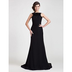 Formal Evening Dress Black Plus Sizes Petite Sheath Column Straps Sweep Brush Train Chiffon