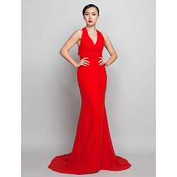 Formal Evening Dress Ruby Plus Sizes Petite Sheath Column Halter Sweep Brush Train Chiffon