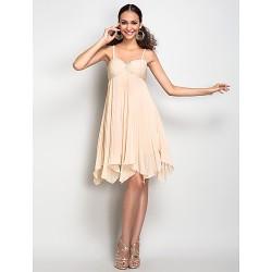 Dress Champagne Plus Sizes Petite Sheath Column Spaghetti Straps Knee Length Chiffon