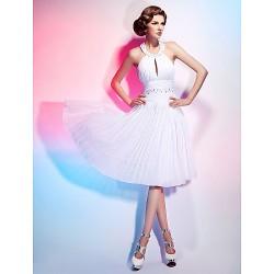 Cocktail Party Graduation Dress White Plus Sizes Petite A Line Princess Halter Knee Length Chiffon