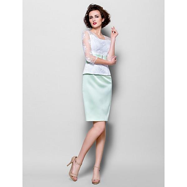 Sheath/Column Plus Sizes / Petite Mother of the Bride Dress - Multi-color Knee-length 3/4 Length Sleeve Lace / Satin Mother Of The Bride Dresses
