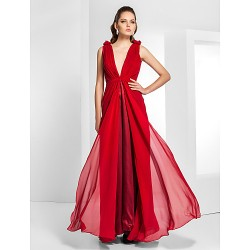 Formal Evening / Military Ball Dress - Ruby Plus Sizes / Petite Sheath/Column V-neck Floor-length Chiffon