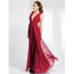 TS Couture Formal Evening / Military Ball Dress - Ruby Plus Sizes / Petite Sheath/Column V-neck Floor-length Chiffon Special Occasion Dresses