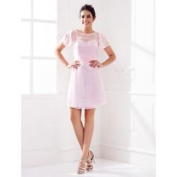 Knee Length Chiffon Bridesmaid Dress Blushing Pink Plus Sizes Petite Sheath Column Jewel