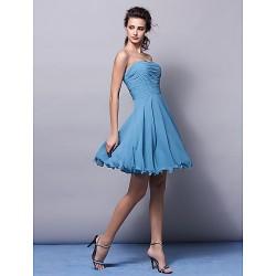 Knee-length Chiffon Bridesmaid Dress - Pool Plus Sizes / Petite A-line Strapless