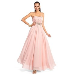 Dress - Pearl Pink Plus Sizes / Petite A-line / Princess Strapless / Sweetheart Floor-length Chiffon