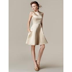 Knee-length Satin Bridesmaid Dress - Champagne Plus Sizes / Petite A-line / Princess Bateau