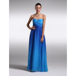 Formal Evening Dress - Multi-color Plus Sizes / Petite Sheath/Column Strapless Floor-length Chiffon