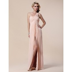 Formal Evening Military Ball Dress Pearl Pink Plus Sizes Petite Sheath Column One Shoulder Floor Length Chiffon Stretch Satin