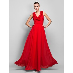 Formal Evening / Prom / Military Ball Dress - Ruby Plus Sizes / Petite Sheath/Column V-neck Floor-length Chiffon