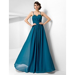 Formal Evening Military Ball Dress Ink Blue Plus Sizes Petite A Line Princess Sweetheart Spaghetti Straps Floor Length Chiffon