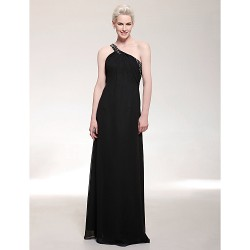 Formal Evening Military Ball Dress Black Plus Sizes Petite Sheath Column One Shoulder Floor Length Chiffon