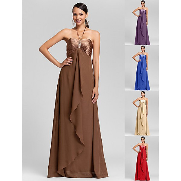 Floor-length Chiffon Bridesmaid Dress - Brown / Royal Blue / Ruby / Champagne / Grape Plus Sizes / Petite Sheath/ColumnHalter / Special Occasion Dresses