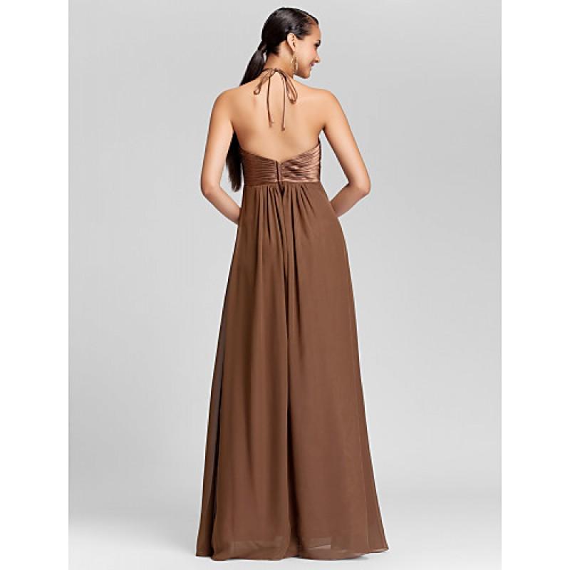 Floor Length Chiffon Bridesmaid Dress Brown Royal Blue