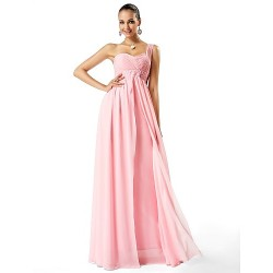 Formal Evening / Prom / Military Ball Dress - Blushing Pink Plus Sizes / Petite Sheath/Column One Shoulder / Sweetheart Floor-length