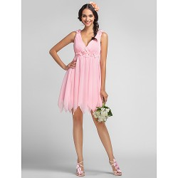 Short/Mini Chiffon Bridesmaid Dress - Candy Pink Plus Sizes / Petite A-line / Princess V-neck