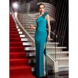 Military Ball Formal Evening Dress Jade Plus Sizes Petite Sheath Column One Shoulder Floor Length Jersey