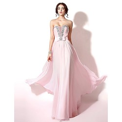 Formal Evening Dress - Blushing Pink Plus Sizes / Petite A-line Sweetheart Floor-length