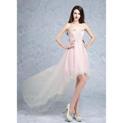 Cocktail Party Dress Pearl Pink A Line Sweetheart Sweep Brush Train Tulle