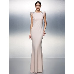 Formal Evening Dress Blushing Pink Plus Sizes Petite Sheath Column Jewel Floor Length Jersey