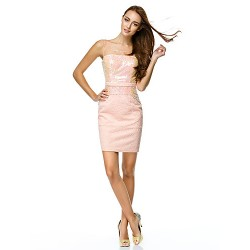Cocktail Party Dress Pearl Pink Sheath Column Scoop Short Mini Tulle Polyester