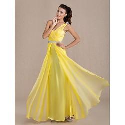 Formal Evening Prom Military Ball Dress Daffodil Plus Sizes Petite Sheath Column One Shoulder Floor Length Chiffon