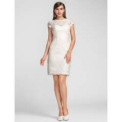 Cocktail Party / Homecoming / Wedding Party Dress - Ivory Plus Sizes / Petite Sheath/Column Jewel / Scalloped Knee-length Lace