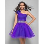 TS Couture Prom / Cocktail Party Dress - Regency Plus Sizes / Petite A-line / Princess One Shoulder Short/Mini Tulle Special Occasion Dresses