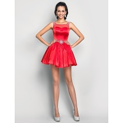 Cocktail Party Prom Sweet 16 Dress Ruby Plus Sizes Petite A Line Princess Scoop Short Mini Tulle Charmeuse