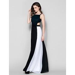 Formal Evening Dress Multi Color Plus Sizes Petite Sheath Column Square Floor Length Chiffon