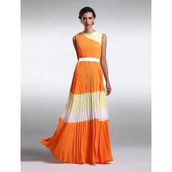 Floor-length Chiffon Bridesmaid Dress - Multi-color Plus Sizes / Petite Sheath/Column Jewel