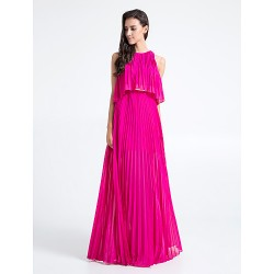 Floor Length Chiffon Bridesmaid Dress Fuchsia Plus Sizes Petite Sheath Column Jewel