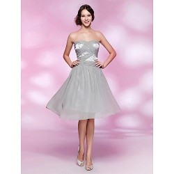 Cocktail Party Homecoming Dress Silver Plus Sizes Petite A Line Princess Strapless Sweetheart Knee LengthChiffon Stretch