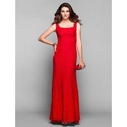 Prom Military Ball Formal Evening Dress Ruby Plus Sizes Petite Sheath Column Square Sweep Brush Train Lace