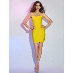 Cocktail Party Holiday Dress Daffodil Petite Sheath Column Straps Short Mini Rayon