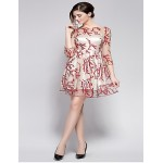 Cocktail Party Dress - Royal Blue / Candy Pink Ball Gown Jewel Knee-length Polyester Special Occasion Dresses