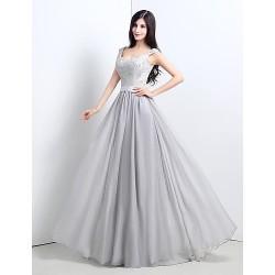 Formal Evening Dress Plus Sizes Petite A Line V Neck Floor Length Chiffon