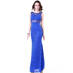 Formal Evening Dress - Royal Blue Plus Sizes / Petite Trumpet/Mermaid Jewel Floor-length Lace