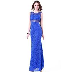 Formal Evening Dress Royal Blue Plus Sizes Petite Trumpet Mermaid Jewel Floor Length Lace