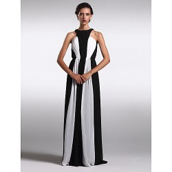 Formal Evening Dress Multi Color Plus Sizes Petite Sheath Column Jewel Floor Length Chiffon