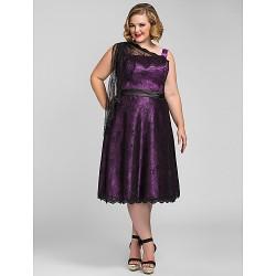 Cocktail Party / Holiday /  Dress - Grape Plus Sizes / Petite A-line Tea-length Lace / Stretch Satin