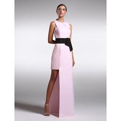 Formal Evening Dress Blushing Pink Plus Sizes Petite Sheath Column Jewel Floor Length Satin