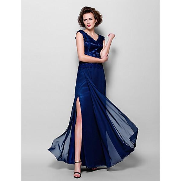 Sheath/Column Plus Sizes / Petite Mother of the Bride Dress - Dark Navy Floor-length Sleeveless Chiffon / Lace Mother Of The Bride Dresses