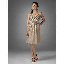 Cocktail Party Dress Champagne Plus Sizes Petite Sheath Column V Neck Spaghetti Straps Knee Length Chiffon